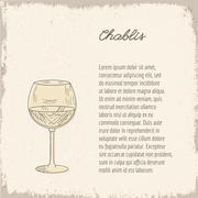 Stock Illustration of Vector template with hand drawn wine glass.