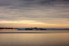 Stock Photo of Lake Chiemsee with island Herreninsel