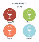 Set of vector icons. Variation of detailed hand drawn wine glass - stock illustration