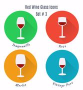Set of vector icons. Variation of detailed hand drawn wine glass Stock Illustration