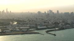 Aerial Tel Aviv north beaches sunrise - stock footage