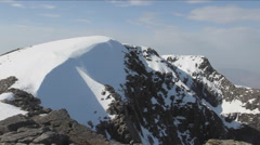 Panning view from near summit of Ben Nevis Scotland Stock Footage