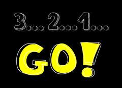 Countdown: 3 2 1 go! Hand drawn vector illustration - stock illustration