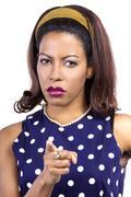 Angry Woman Wearing Polka Dot Stock Photos