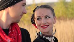 Beautiful  girl dancing exotic dance with drummer Stock Footage