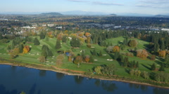 Aerial shot of golf course along Willamette River, Oregon: 4K Ultra HD Stock Footage