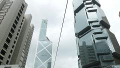 Tilt up shot Bank Of China Tower and Lippo centre skyscraper against cloudy sky Stock Footage