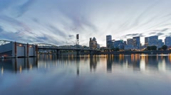 UHD 4k Timelapse of Clouds and Sunset Over Skyline of Portland Oregon 4096x2304 Stock Footage