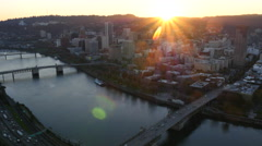 City of Portland, Oregon at sunset, aerial video: 4K Ultra HD - stock footage