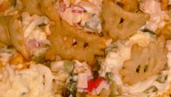 4k – Salad with crabmeat sticks and chips 02 Stock Footage