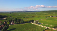 4K French village in the countryside - aerial shot - stock footage