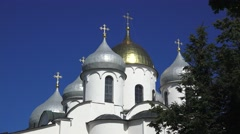 The domes of the Cathedral of St. Sophia, Veliky Novgorod, Russia. Stock Footage