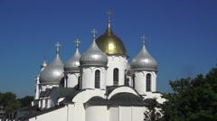 The domes of the Cathedral of St. Sophia, the Kremlin, Veliky Novgorod, Russia. Stock Footage
