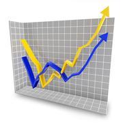 Rebound line graph - stock illustration