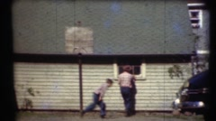 1948  , brother playing basket ball Stock Footage