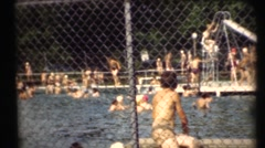 1948  , Public swimming pool . lots of people Stock Footage