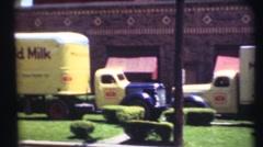 1948  ,Milk delivery milkman ,tractor trailer Stock Footage