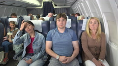 Male plane passenger has bad BO Stock Footage