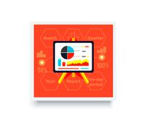 Stand with Charts and Parameters - stock illustration