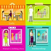 Set Cafe Restaurant Shop Hairdresser Stock Illustration