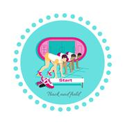 Stock Illustration of Track and Field Icon Flat Design