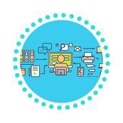 Stock Illustration of Icon Flat Design Deadline Concept
