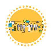 Flat Icon Concept of Business Partnership Stock Illustration