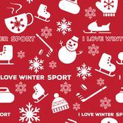 Winter sports seamless pattern red Stock Illustration
