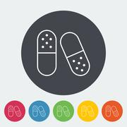Pills icon - stock illustration