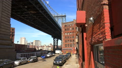 An establishing shot of the Dumbo area of Brooklyn, New York, including the Stock Footage
