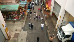 Bowrington road market bystreet from above, citizen walk through Stock Footage