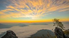 Sea of mist at Doi Pha Tang, Chiangrai , Thailand - stock footage