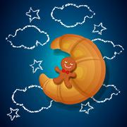 gingerbread cookies and croissant - stock illustration