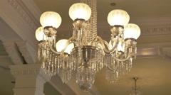 Antique Crystal Chandelier in Historic Building, 4K Stock Footage