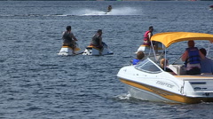 Stock Video Footage of Boats on the water on hot summer day in cottage country Muskoka Canada