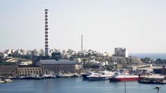 4K Wide establishing shot,day,Keratsini shipyard/port, Athens Greece - stock footage