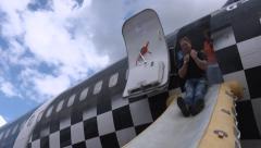 Emergency evacuation of plane on fire Stock Footage