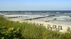 Baltic Sea in Poland, beach of Ustka, Poland Stock Footage