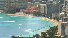 Waikiki beach from diamond head Stock Footage