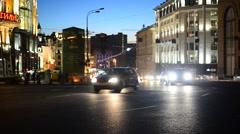 MOSCOW, RUSSIA- 03.09.2015. Traffic of cars on Tverskaya Street Stock Footage