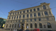 The facade of the Academy of Arts in Prague Stock Footage