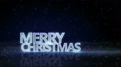 Merry christmas neon glow text and sparkling particles loop 4k (4096x2304) Stock Footage