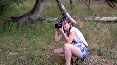 The girl photographs Stock Footage
