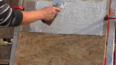 Plasterer working - stock footage