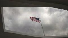 Flag at arizona memorial Stock Footage