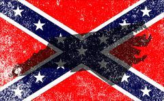 Rebel Civil War Flag With North Carolina Map Piirros
