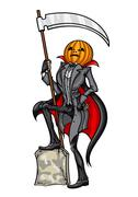 Stock Illustration of Halloween Pumpkin Head Jack The Reaper (Grim Reaper)