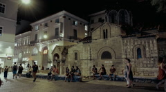 Night establishing shot, Kapnikarea square, Monastiraki,Athens,Greece summer Stock Footage