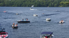 Boats on the water on hot summer day in cottage country Muskoka Canada Stock Footage