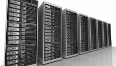 Row of network servers in data center isolated on white Stock Footage